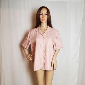 Jones New York Pink Collard Linen Shirt size M